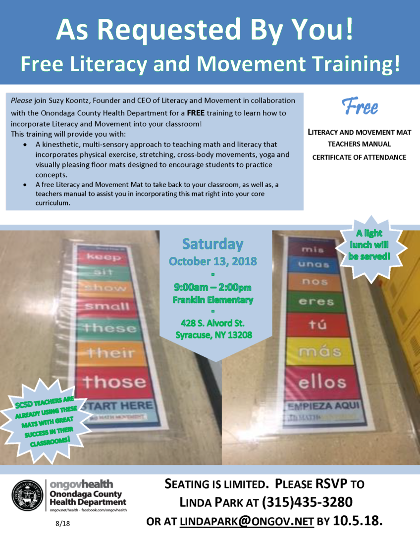 Literacy and Movement Training- October 13th