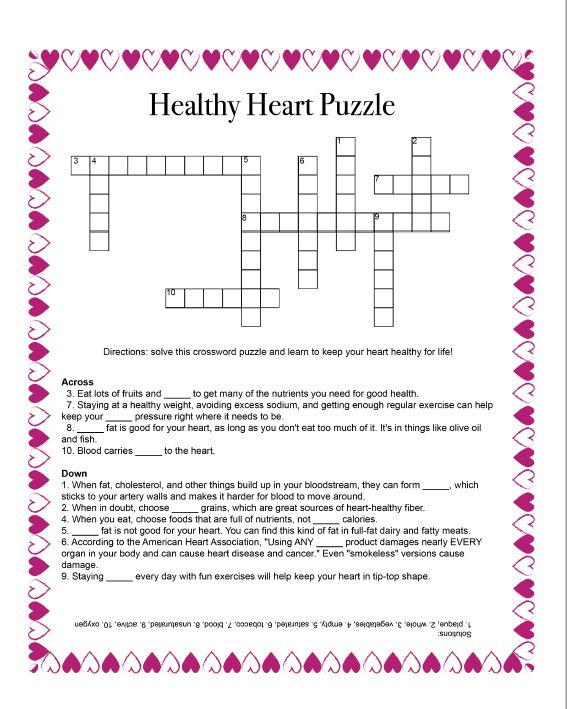 Crossword Puzzle about Healthy Heart Behaviors