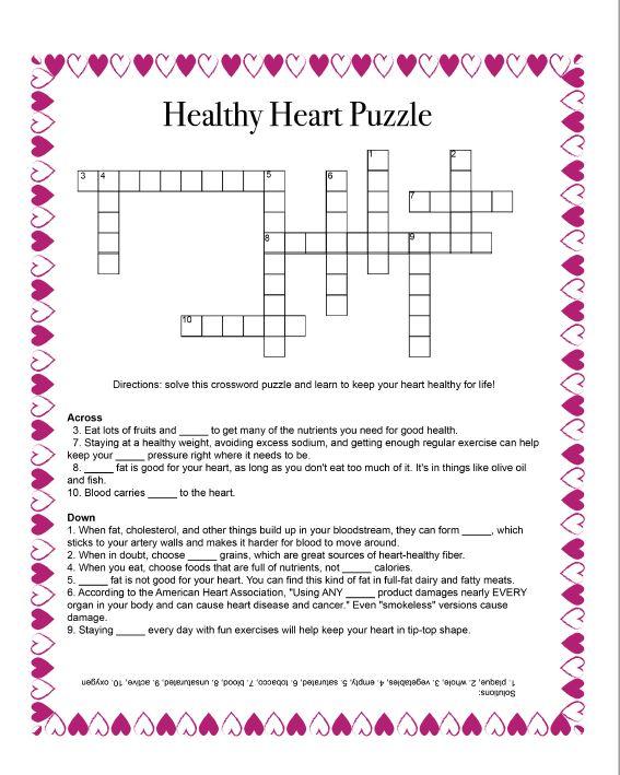 Crossword Puzzle about Healthy Heart Behaviors